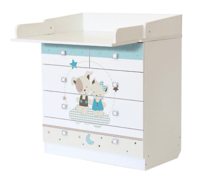 Baby Changing Table Station Unit Change Nappies 5 Drawers Storage Handles White