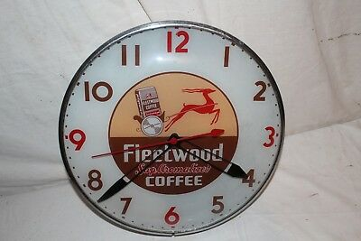 """Rare Vintage 1950's Fleetwood Coffee 15"""" Pam Lighted Metal Clock Gas Oil Sign"""