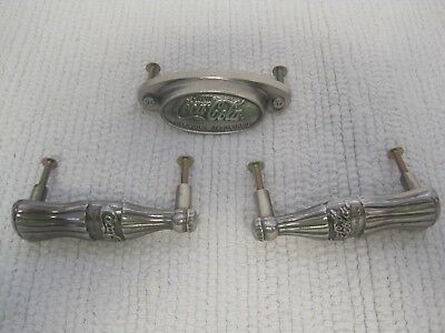 New Lot of 3 Vintage Belwith Coca Cola Cabinet Drawer Knobs Pulls Handles