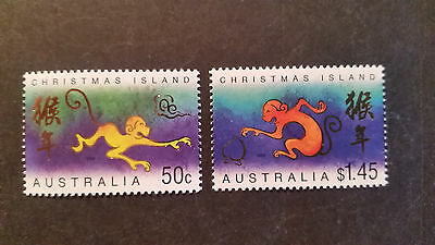 N0-2--2004  Christmas   Island -Year Of  Monkey     2 Stamps -F/s --Mint