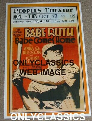 """1927 """"babe Ruth Comes Home"""" Baseball Movie Theater 11X17 Poster New York Yankees"""