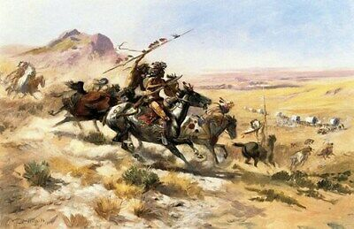 WESTERN ART POSTER Wagon Train Attack - Charles Russell - PRINT IMAGE PHOTO -PW0