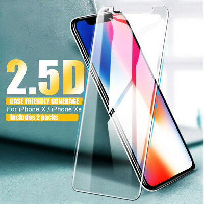 2Pack Premium Tempered Glass Film Easy Guard For Apple iPhone X Screen Protector