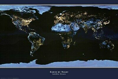 WORLD MAP POSTER Earth by Night RARE HOT NEW 24X36 - PRINT IMAGE PHOTO -RW0