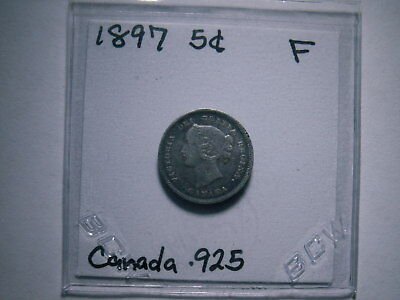 1897 Canada Silver 5 Cent Piece World Coin, ( Fine , My Opinion ) See Pictures