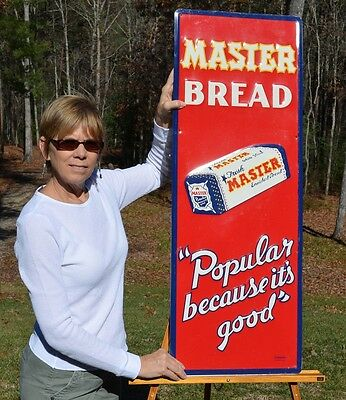 Vintage Master Bread Sign Scarce Vertical Sign W/ Bread Minty Super Collectable!