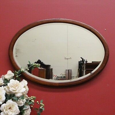 Antique English Walnut and Bevelled Edge Wall Mirror with Tunbridge Ware Detail