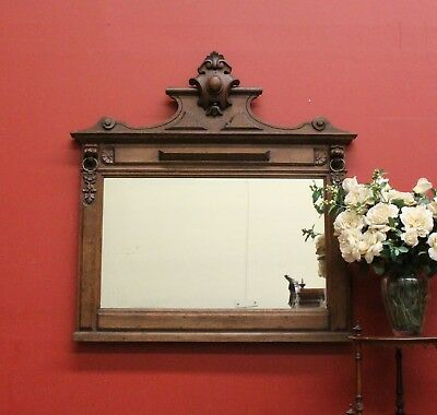 Antique French Oak Wall Mirror with Brass Rings and Lions Head Corbels - c1930