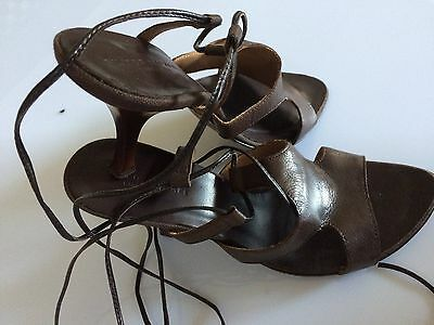 Women's Shoes Genuine Leather Lace-up High Heels Filippo Raphael Brown Size 8
