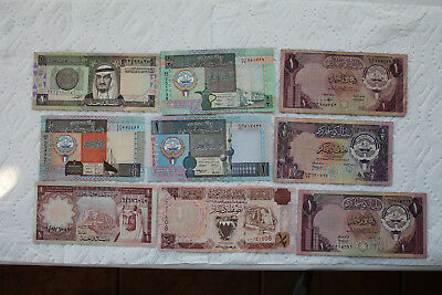 Banknotes from Kuwait, Saudi Arabia and Bahrain, 9 total, 1977-94