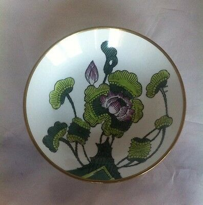 Hand Painted Porcelain Brass Encased Bowl Made In China Venus Fly Trap