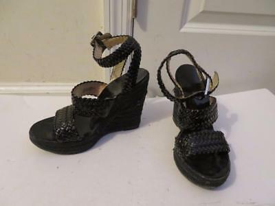 04531aecd5eb Womens Michael Kors Black Patent Leather Braided Style Ankle Buckle Wedges  Sz-6M