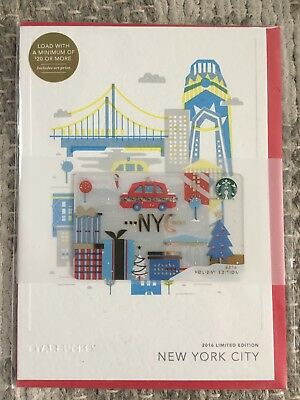 2016 STARBUCKS NYC / New York City HOLIDAY EDITION GIFT CARD NEW UNOPENED!