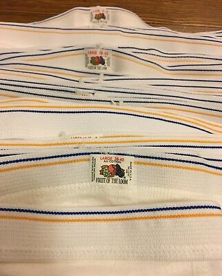 VTG 70s Fruit Loom Briefs Tighty Whities LARGE Blue Yellow Stripe Deadstock NOS