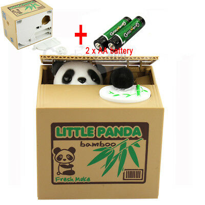 Automated Panda Coin Money Steal Stealing Piggy Bank Money Collection Case Kids