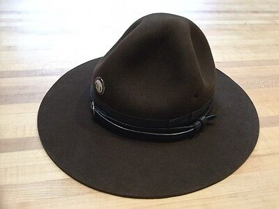 Vintage Brown Felt Hat With MO Dept Of Conservation Pin