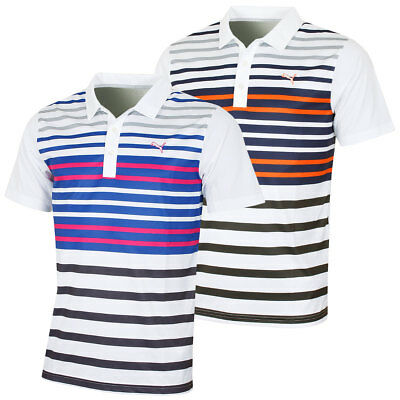 Puma Golf Mens Short Sleeve Road Map DryCell Striped Polo Shirt