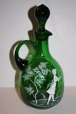 Mary Gregory Green Glass Decanter