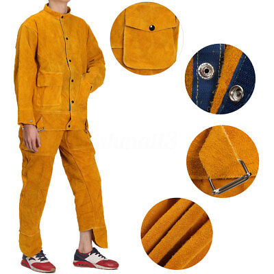 2x Leather Welding Clothing Strap Trousers&Coat Protective Apparel Suit Welders