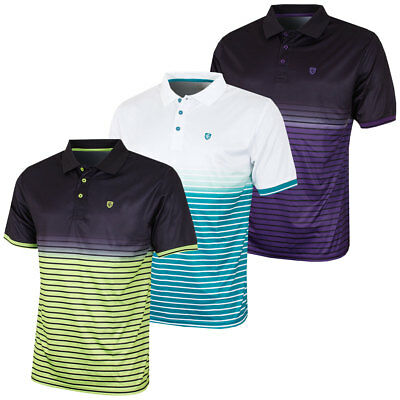 Island Green 2017 Mens Faded Print Striped CoolPass Tech Golf Polo Shirt