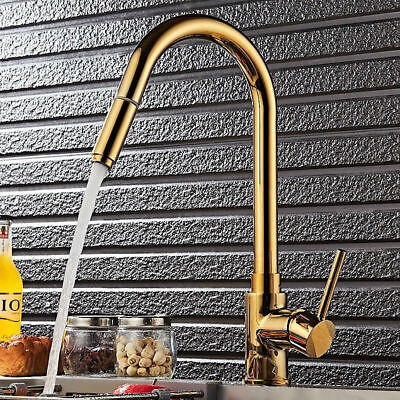 Splendid High-Arc 1-Hole Solid Brass Pullout Spray Kitchen Faucet Water Tap Gold