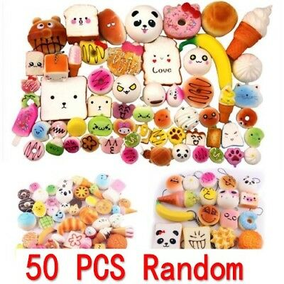 50Pcs Fast food&Rilakkuma Squishy Squeeze Charms Slow Rising Toy Collection Gift