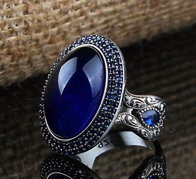 Turkish Handmade 925 S.Silver SPECIAL Sapphire Mens Ring Sz 11 us Free Resize