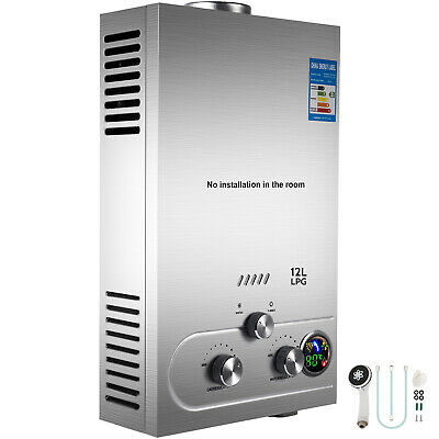 12L Tankless Propane Gas LPG Instant On-Demand Hot Water Heater With Shower