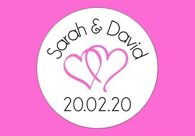 70 Personalised Round Heart Wedding Colour Stickers/Labels 3FOR2 Envelopes Seals