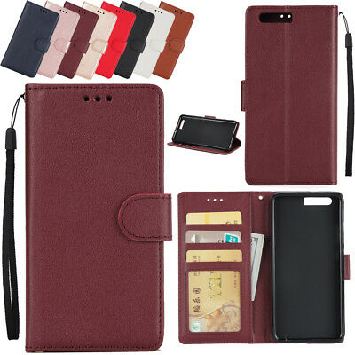 Luxury Magnetic Buckle Flip Stand Card Slot Wallet Leather Case&Strap For Huawei