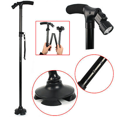 Walking Stick with Light Folding & Height Adjustable Foldable Free Standing AU