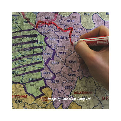 *brand New* Postcode A-Z Wall Map Of Greater London Emission & Congestion Map108