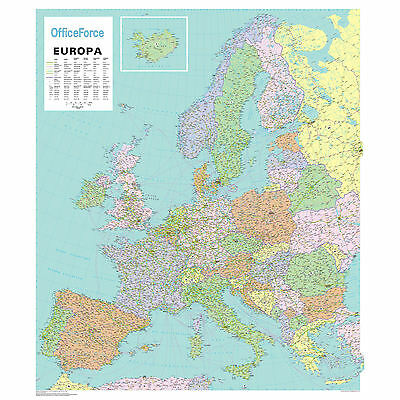 *brand New*laminated Wall Map Of Europe-Cities-Main Roads-Airports-Rivers Eurl