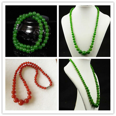 Beautiful Chinese Handcraft Natural jade green and red necklace