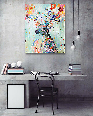 """Deer Leaves Scene Abstract Art Home Wall Decor 16x20"""" Painting Canvas NO Frame"""