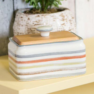 Striped Country Kitchen Ceramic Butter Storage Dish with Wooden Lid Serving