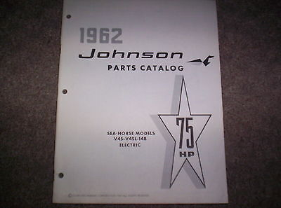 Vintage 1962 Johnson Sea Horse 75 HP V4S 14B Electric Boat Motor Parts Catalog