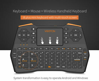 d4c9b826598 VIBOTON i8Plus Mini 2.4G Wireless Keyboard Fly Air Mouse Touchpad for TV  BOX PC