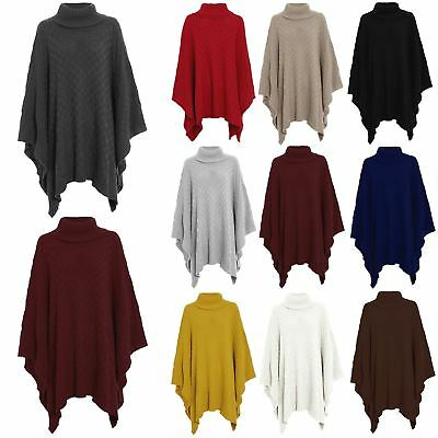 Womens Shawl Ladies Grid Knitted Poncho Polo Neck Wrap Cape Waterfall Blanket