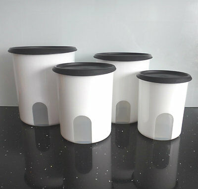 Tupperware New Instant Reminder Canister Canisters Set x 4 One touch Black White
