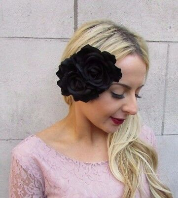 Large Double Black Rose Flower Hair Clip Fascinator Rockabilly 1950s Goth 4471