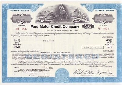 $25,000 bond for 1975 Ford Motor Credit Co w/ Henry Ford and Model T