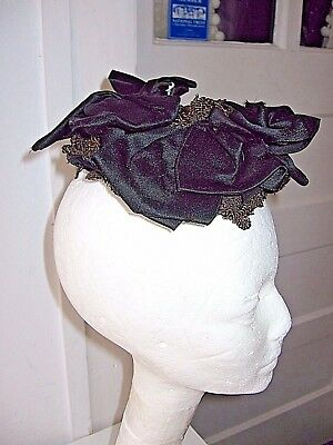 ANTIQUE VINTAGE GENUINE 1870-80s VICTORIAN BLACK STRAW/SILK MOURNING HAT