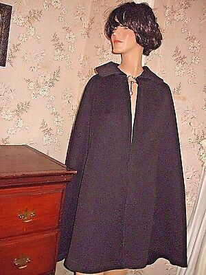 Nice Old Vintage Victorian Unisex Black Wool Cape W/red Lining-? Nurse's Cape