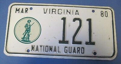 1980 Virginia National Guard License Plate low number