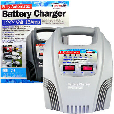 12v 24v 15A Car Van 4x4 45Ah to 180Ah Fully Automatic Battery Charger SWBCLED15