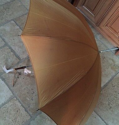Gold Vintage S Klein's Dept Ladies Womens Parasol Umbrella  Pearl Lucite Handle