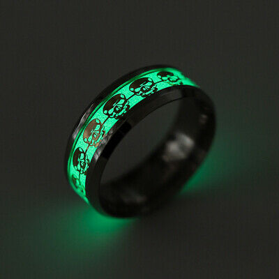 Luminous Ring Glow In The Dark Stainless Steel Skull Band Ring Unisex Size 6-13