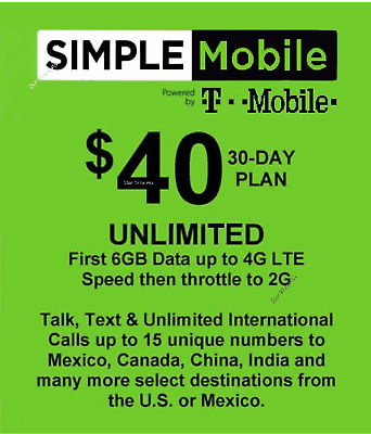 Simple Mobile preloaded sim with $40.00 plan 6GB