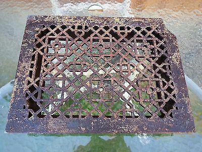 Vintage VICTORIAN Cast Iron Floor Grille 16x12 Heat Grate Register